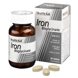 قرص آهن+ویتامین c هلث اید آیرون بس گلیسینات 90 عددی