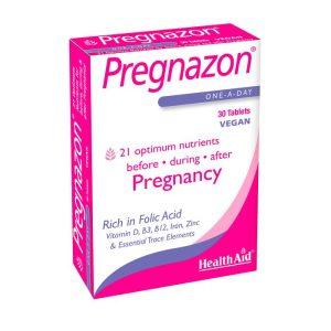 قرص غنی از اسیدفولیک مناسب قبل و حین بارداری و بعد زایمان پرگنازون هلث اید 30 عددی
