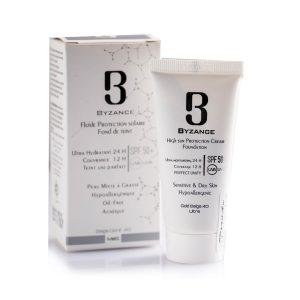 کرم ضد آفتاب بژ طلایی پوست خشک و حساس بیزانس SPF50+ 30ml