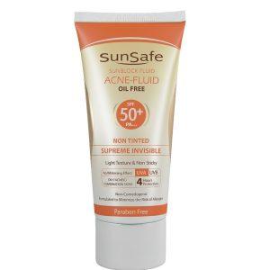فلوئید ضدآفتاب بی رنگ پوست چرب و آکنه ای فاقد چربی آکنئیک سان سیف SPF50+