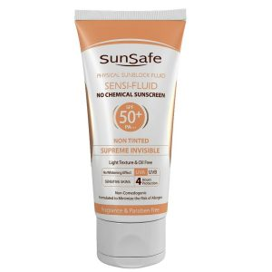 ضد آفتاب فیزیکال بی رنگ پوست حساس فاقد چربی سنسی فلوئید سان سیف SPF50+ 50gr