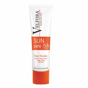 کرم ضد آفتاب بژ روشن فاقد چربی ولفرا SPF50+ 40gr