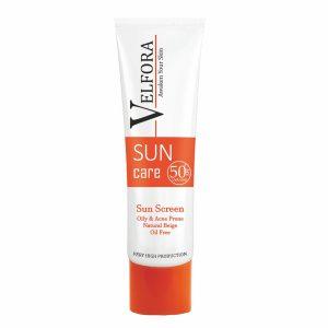 کرم ضد آفتاب بژ طبیعی فاقد چربی ولفرا SPF50+ 40gr