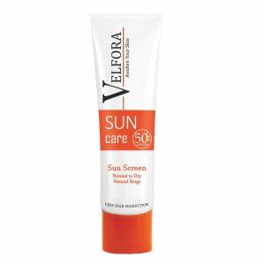 کرم ضد آفتاب بژ طبیعی پوست نرمال تا خشک ولفرا SPF50+ 40gr