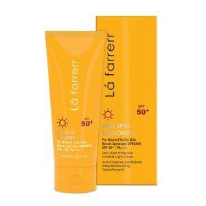 کرم ضد آفتاب و ضد لک بی رنگ پوست خشک و معمولی لافارر SPF50