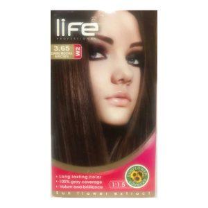 کیت رنگ مو زنانه شماره 3.65 لایف 60ml