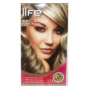 کیت رنگ مو زنانه شماره 8.3 لایف 60ml