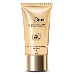 کرم ضد آفتاب حاوی کرم پودر بژ طبیعی مناسب پوست چرب مدیسان SPF40+
