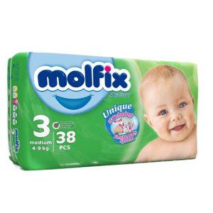 پوشک مخصوص کودکان مولفیکس 4 تا 9 کیلوگرم 38 عددی
