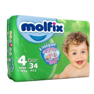 پوشک مخصوص کودکان مولفیکس 7 تا 18 کیلوگرم 34 عددی