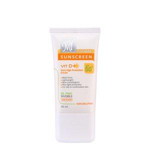 کرم ضد آفتاب بی رنگ حاوی ویتامین D فاقد چربی سان سلوشن مای فارما SPF50+