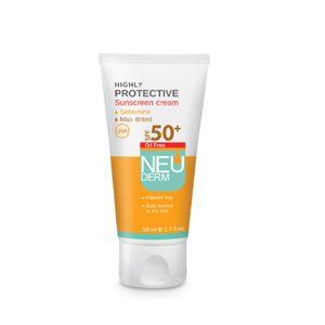 کرم ضد آفتاب بژ پوست چرب و مختلط فاقد چربی هایلی پروتکتیو نئودرم SPF50+