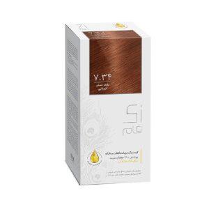 کيت رنگ مو بلوند عسلی طبیعی شماره 7.34 زی فام 50ml