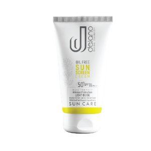 کرم ضد آفتاب بژ روشن پوست چرب و مستعد جوش و آکنه فاقد چربی دلانو SPF50+